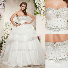 Charming Sweetheart Ball Gown Sequin Zipper Sweep Train Ruffles Wedding Dress 2012