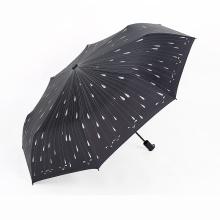 A17 guarda-chuva de 5 dobras nenhum guarda-chuva aberto do auto guarda-chuva do gotejamento com impressão da gota de chuva