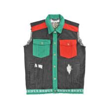 Kundenspezifische Design Kontrast Farbe Tasche Cowboy Shirts ohne Ärmel (D5001)