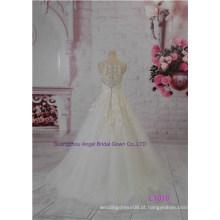 Popular Prinecess Padrão Chapel Train A linha de vestido de noiva nupcial Sash