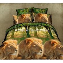 3D Lion King дизайн 100% полиэстер Microfiber Bed Sheet Set Одноместный Королева Размер
