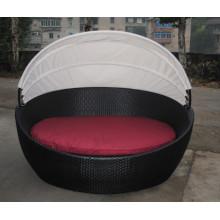 Conjunto de vime ao ar livre cama cama cama mobiliário dobrável
