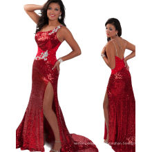 Red Black Sequined One Shoulder Miss USA Pageant Dress Party Dress RO11-04