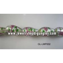 Flower print tear drop shape lampwork glass beads