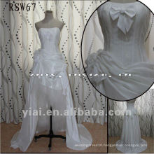 RSW67 Factory Outlets High Quality Gorgeous Small Bowknot Short Front Taffeta Wedding Dress