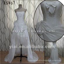 RSW67 завод точек высокое качество великолепная небольшим бантом короткое спереди свадебное платье