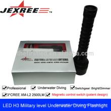 Luz de emergência H3 Tactical militar lanterna impermeável 3 * cree 2500 lumens Recarregável auto defesa armas