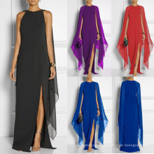 Superstarer Newest Low MOQ High Split Cloak Sexy Fashion Maxi Dresses Women Casual 2021 Long Sleeve Elegant Women Dresses