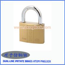 Preço de fábrica de segurança dupla-linha imitar latão atom cadeado