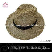 Chapeau de chapeau de cowboy en paille de couleur naturelle chapeau de chapeau panama chapeau avec ruban de conception personnalisé