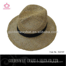 natural color straw cowboy hat boater panama hats salt straw with custom design ribbon