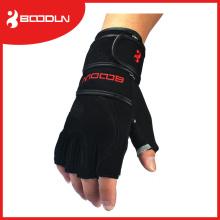 Luvas de fitness de meio dedo com bordas pretas para levantamento de peso