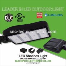 SNC UL DLC Listado LED Shoe box Luz de estacionamiento 200w para el mercado de América del Norte