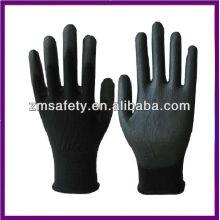 Guantes de PU negros revestidos de nylon ligero de la palma ZMR781