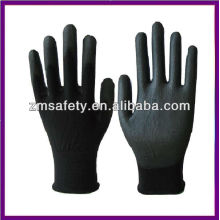 Lightweight Nylon Palm Coated Black PU Gloves ZMR781