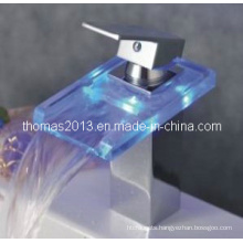 LED Waterfall Basin Faucet, Single Handle Water Tap (Qh0818f)