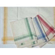 Yarn-dyed border tea towel