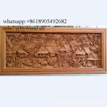 Colgantes para el hogar hechos a mano colgantes de pared paneles de madera tallada