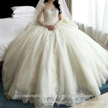2016 vestidos de novia de la princesa de lujo de boda Cristal largo del tren más los vestidos de boda del vestido nupcial del tamaño CWF2394