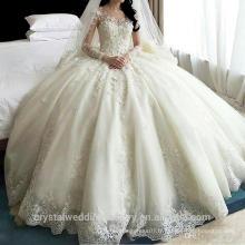 2016 Princesse de luxe vestidos de noiva robe de mariage Long train Crystal plus taille robe de mariée Robes de mariée CWF2394