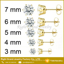 Gold Plated Stainless Steel Prong Set Clear Round Cubic Zircon Earrings