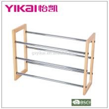 3 étages en chrome et étagère en bois expansible en taille de 63.5cm à 116.5cm