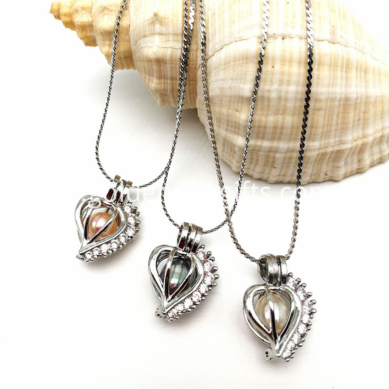 High Quality Pearl Cage Pendant Necklace Jewelry