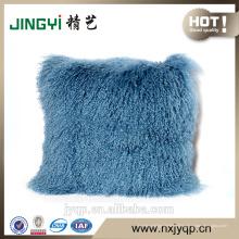 Laine molle moelleux bouclés laine d'agneau mongol en peau de mouton fourrure housse de coussin Multicolore