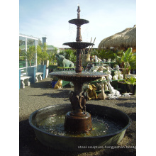 outdoor garden metal tiered fountain bronze casting water sculpture
