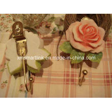 Resin Rose Wall Hanger Hook, Cloth Hook, Kitchen Hook