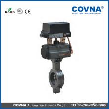 Válvula de borboleta de controle de fluxo, pneumática elétrica