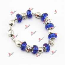 Fashion Blue Color Glass Bead Charms Bracelet Chains Jewelry (LDK60226)