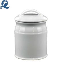 Réservoirs de stockage lisses en céramique simple couleur simple personnalisé en gros