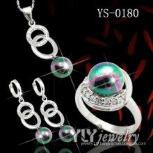 925 Sterling Silver Jewellery Set with Color Pearl (YS-0180)