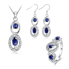Hot Sale Jewelry Set Zircon Necklace Ring Brincos Silver Plated Jewelry