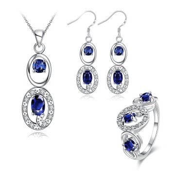 Heiße Verkaufs-Schmucksache-gesetzte Zircon-Halsketten-Ring-Ohrring-Silber überzogene Schmucksachen