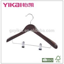 Sujetador y mejor venta de percha de madera con clips de metal en color antiguo
