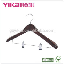 Fancy and best selling wooden coat hanger with metal clips in antique color