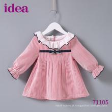 71105 Vestido da listra do bebê pequeno Vestido da menina 100% algodão