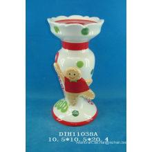 Handgemalter Keramikkerzenhalter mit Lebkuchenmann