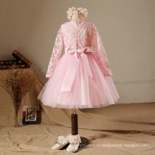 2017 Новый год розовые этой партии принцесса девочки платье талии цветы дети с длинным рукавом кружева бисером цветок девочки платья