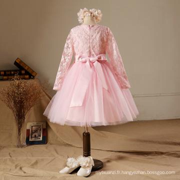 2017 nouvelle année rose duoduo princesse bébé filles robe de soirée taille fleurs enfants manches longues dentelle perles parti fleur filles robes