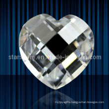 Heart Shape Checker Cut Cubic Zirconia Gemstones Loose Beads