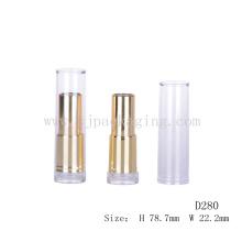 Empty Clear Cap Glossy Gold Lápiz labial tubo
