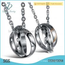 His & Hers en acier inoxydable assorti ensembles pendentif collier couples, meilleurs cadeaux personnalisés