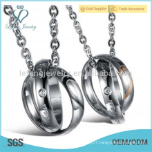 His & Hers stainless steel matching couples necklace pendant sets ,best personalized gifts