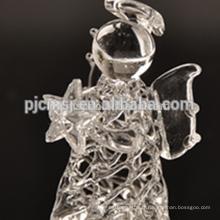 ange de cristal pur, ange de dessin de verre pour des cadeaux