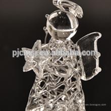 anjo de cristal puro, anjo de desenho de vidro para presentes