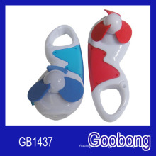Promotion Gift Portable Mini Plastic LED Light Carabiner Fan (GB1437)