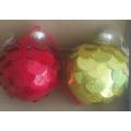 Ornement de Noël Coeurs en verre avec dessin couleur